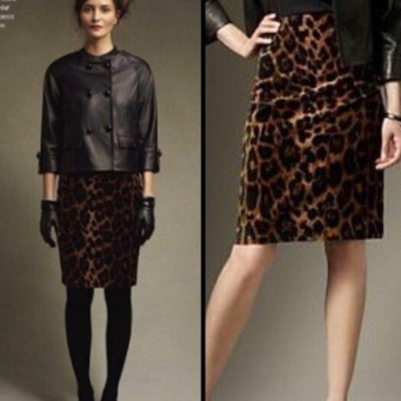 Talbots Dresses & Skirts - Talbots Leopard Print Faux Suede Pencil Skirt